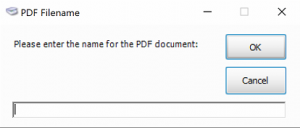 Screenshot of prompt for document name when Scanning into Act!