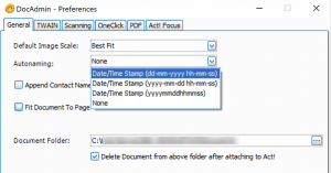 Screenshot of DocAdmin automatic document naming for Scanning