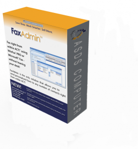 Box shot of FaxAdmin software for faxing out of Act!