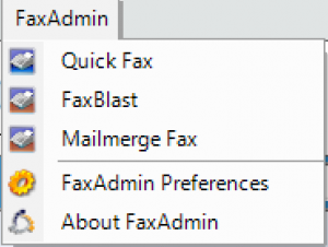 Screenshot of Faxing options added to Act! toolbar