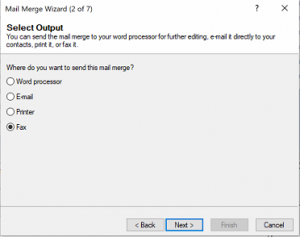 Screenshot of Faxing option coming alive in Act!