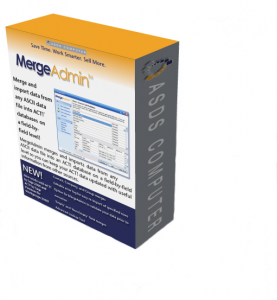 Box shot of MergeAdmin software for Importing data into Act!